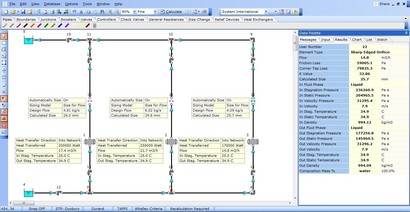 FluidFlow pressure drop software Auto-Equipment Sizing