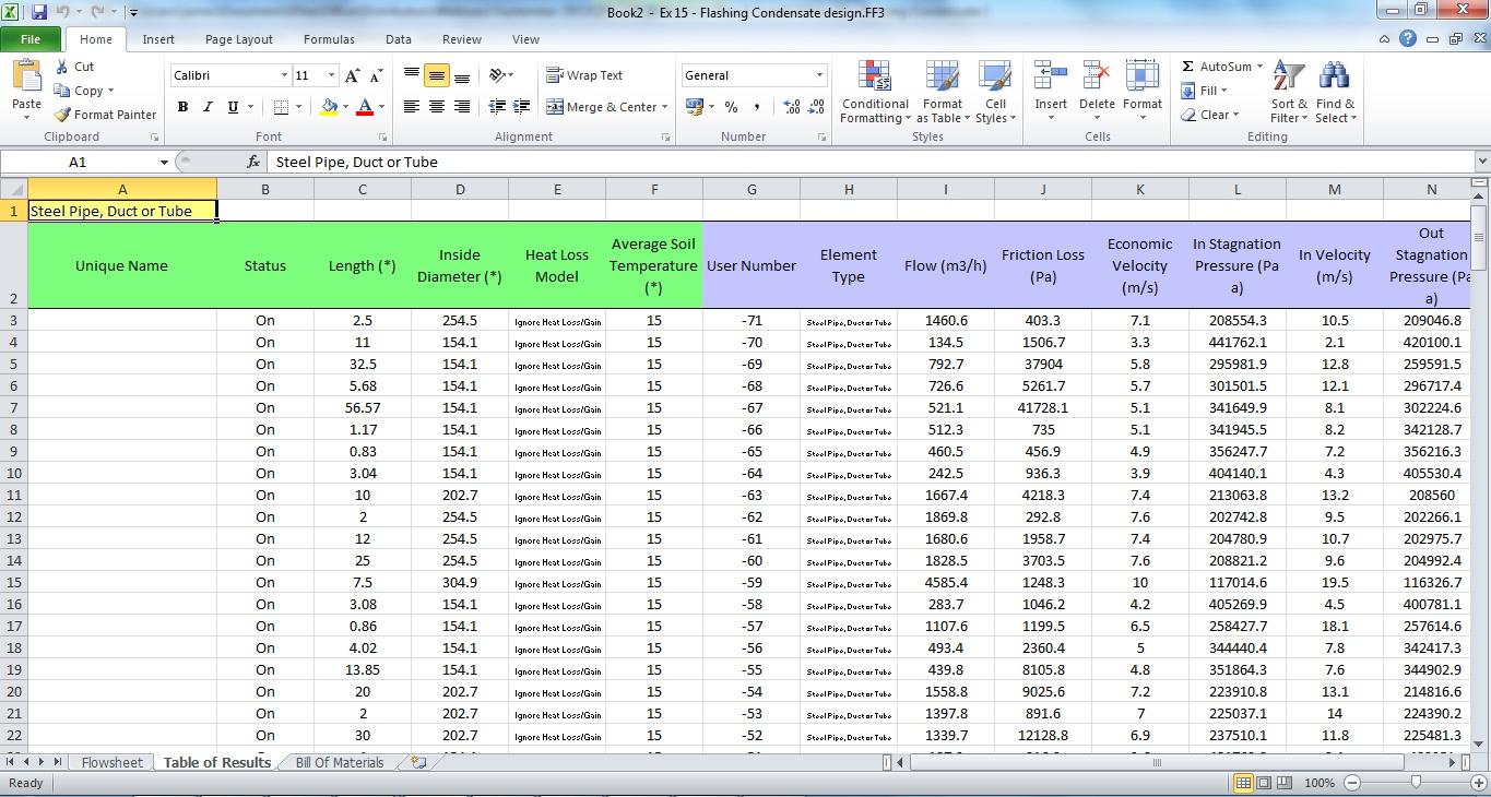 FluidFlow pressure drop software Two-way communication with Excel
